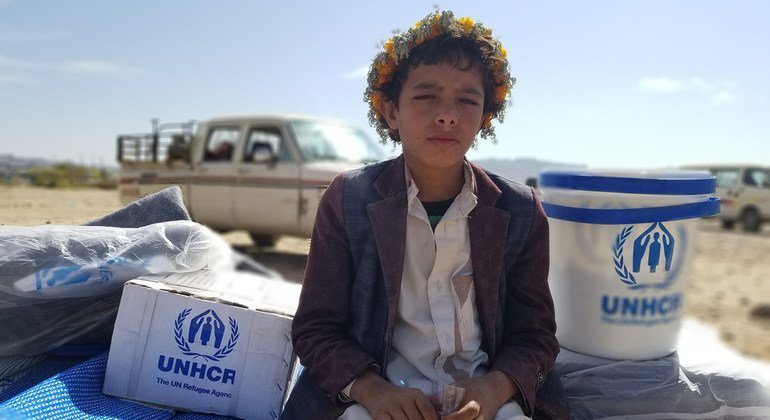 Moheeb, de ocho años, tuvo que dejar su casa en Yemen, convirtiéndose en un desplazado interno al igual que otros dos millones de yemeníes.