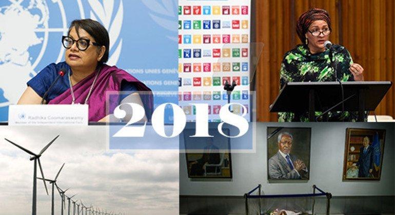 top l to r: Radhika Coomraswamy; UN Deputy-Secretary General Amina Mohammed. Bottom l to r: Middelgruden offshore wind farm; Flowers laid beneath the portrait of Kofi Annan at UN Headquarters in NY.