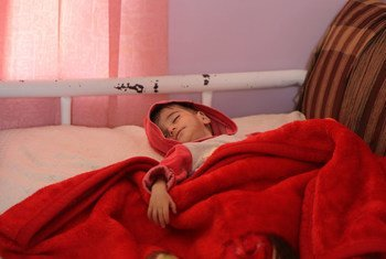 Nine-month-old baby weighing 3 kg is being treated for acute malnutrition in a Sana'a hospital.