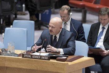 مجلس الأمن الدولي يستمع إلى إحاطة من كريم أسعد أحمد خان رئيس فريق التحقيق التابع للأمم المتحدة لتعزيز المساءلة عن الجرائم المرتكبة من تنظيم داعش.
