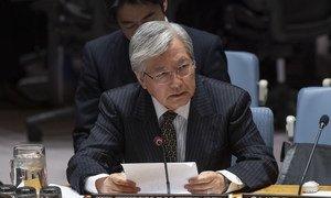 Le Représentant spécial du Secrétaire général en Afghanistan et chef de la Mission d'assistance des Nations Unies en Afghanistan (MANUA), Tadamichi Yamamoto, lors de la réunion du Conseil de sécurité sur la situation en Afghanistan.