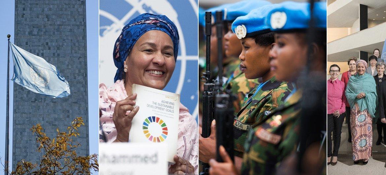 Kutoka kushoto: Bendera ya UN ikipepea New York; Naibu Katibu Mkuu akiwa na nakala ya ripoti ya  UNCTAD; Walinda amani wa UN; Katibu Mkuu akiwa na wanawake viongozi waandamizi wa UN