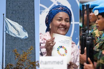 From left: UN flag at the Headquarters, in New York; the Deputy Secretary-General holds a copy of the UNCTAD SDG report; UN peacekeepers in the field; Secretary-General with women members of his Senior Management Team.