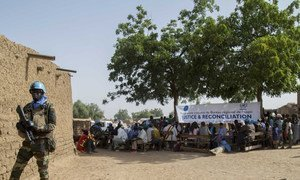 Peacekeepers conduct civil-military activities to secure the circle of Koro, in Mali's central Mopti region. Called FADEN 6, the project includes free medical consultations, sensitization and education sessions on social cohesion, human rights, justice, and distribution of goods to the community. 18 December 2018.