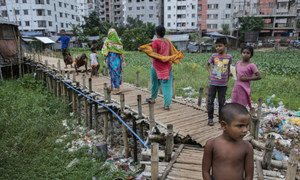 Residents living in a slum in Dhaka, the capital of Bangladesh.