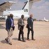 Nicholas Haysom, the UN Secretary-General's Special Representative for Somalia (r) arrives at an airport in Somalia with two senior UN colleagues in November 2018.