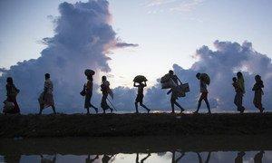 बांग्लादेश से लगी सीमा पार करते रोहिंज्या शरणार्थी.