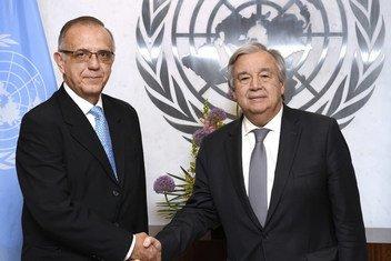 El Secretario General António Guterres junto al Comisionado de la CICIG, Iván Velásquez Gómez.