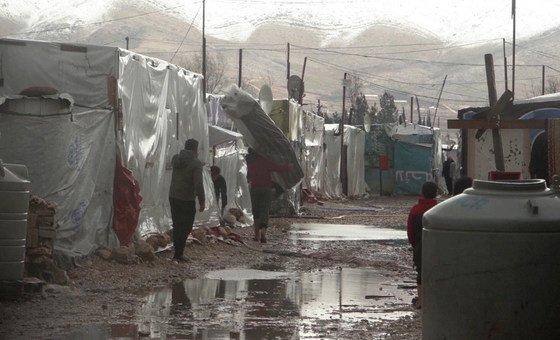 Acnur está fornecendo ajuda de emergência aos refugiados sírios no Líbano depois que uma forte tempestade atingiu o país no domingo, 06 de janeiro de 2019.