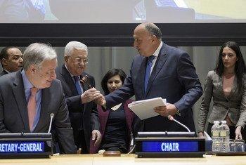 Em cerimónia na sede da ONU, em Nova Iorque, a Palestina sucede assim ao Egito na liderança deste grupo de nações fundado em 1964.