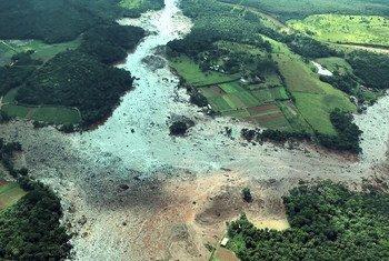 Área atingida pelo rompimento da barragem em Brumadinho, Minas Gerais, Brasil.