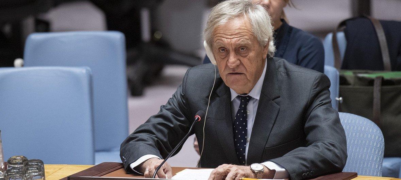 Mwakilishi Maalum wa Katibu Mkuu wa Umoja wa Mataifa nchini Somalia, Nicholas Haysom akitubia Baraza la Usalama la UN leo Januari 3, 2019 jijiini New York, Marekani