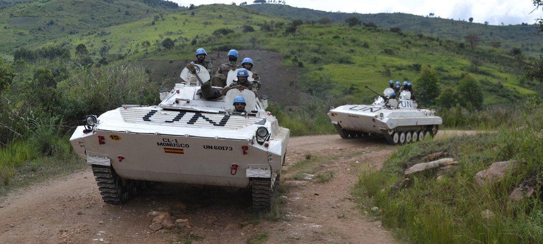 قوات حفظ السلام التابعة للأمم المتحدة في كيفو الشمالية من جمهورية الكونغو الديمقراطية، وقد أنشأت البعثة الأممية وحدة قتالية ثابتة هناك لحماية عودة النازحين إلى قراهم النائية