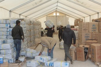 UNHCR relief aid and winter assistance are ready for distribution to the newly arrivals in Al Hol camp in northern Hassakeh, Syria.