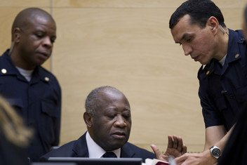 Initial appearance of former Ivorian President Laurent Koudou Gbagbo before the ICC on 5 December 2011.