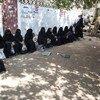 Des Yéménites attendant une distribution de nourriture par le Programme alimentaire mondial (PAM) à Hodeïda, au Yémen, en novembre 2018.