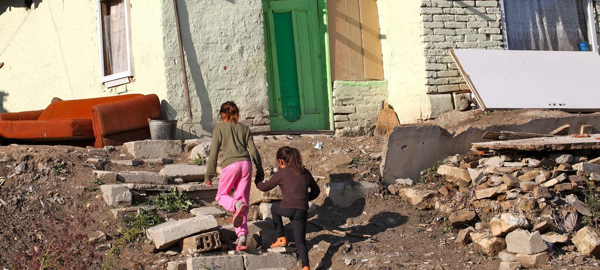 Children walking in a Roma community in the town of Shumen, Northern Bulgaria (2013)