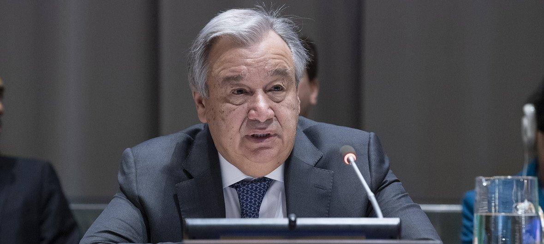 El Secretario Genral de la ONU, António Guterres, durante la presentación de sus perspectivas para el año 2019.