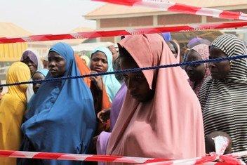2018年12月新近抵达迈杜古里教师村营地的尼日利亚难民。