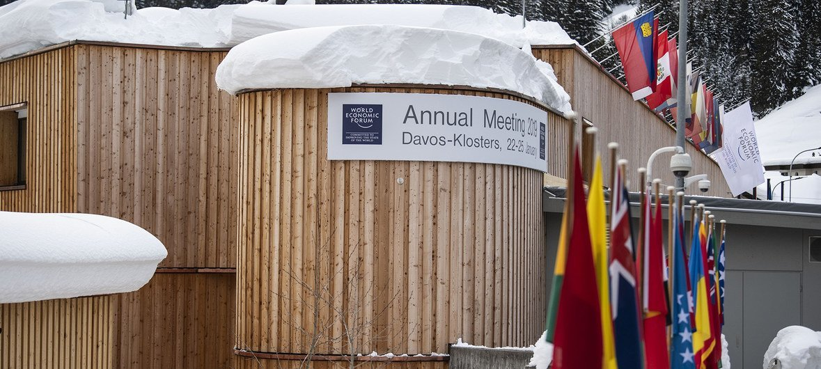 Impression from the Annual Meeting 2019 of the World Economic Forum in Davos, January 21, 2019.