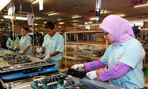Workers of PT Toshiba Consumer Products Ind. assembling and manufacturing of electronic goods, such as television sets. Cikarang, Bekasi. Indonesia. (file)