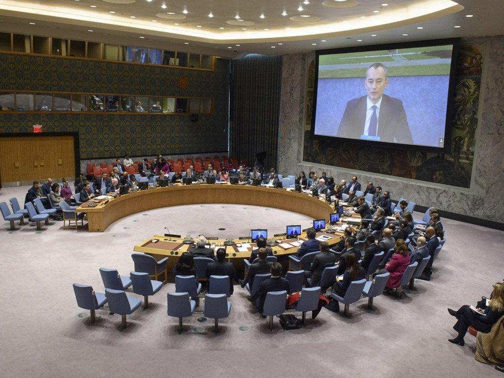 联合国中东和平进程特别协调员兼秘书长派驻巴勒斯坦解放组织和巴勒斯坦权力机构个人代表姆拉德诺夫(银幕上)向安理会通报中东局势,包括巴勒斯坦问题。(2019年1月22日)