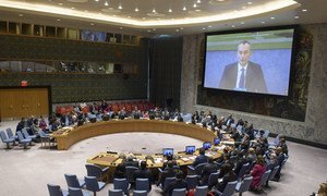Nickolay Mladenov (on screen), UN Special Coordinator for the Middle East Peace Process, briefs the Security Council on the situation in the Middle East, including the Palestinian question. (file)