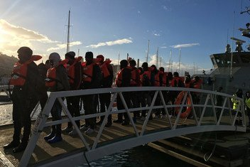 Valleta, Malta - Disembarkation of refugees and migrants rescued by the NGO vessels Sea Watch and Sea Eye, after both boats were stranded at sea without a port of safety for 19 days and 12 days respectively.  9 January 2019.