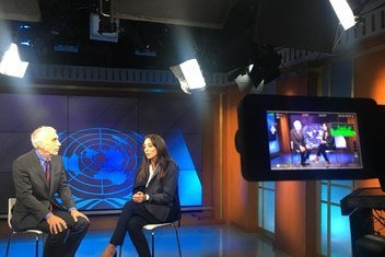 David Scheff and Vicky Cornell being interviewed at the UNTV studios at UN Headquarters in New York.
