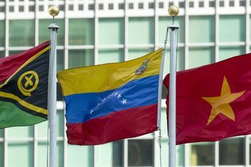 Флаг Венесуэлы в штаб-квартире ООН в Нью-Йорке