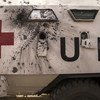 View of a UN ambulance damaged during the 20 January attack to the United Nations Multidimensional Integrated Stabilization Mission in Mali (MINUSMA) which claimed the lives of ten Chadian peacekeepers and injured at least twenty-six..