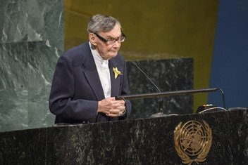 Mr. Marian Turski, Holocaust Survivor and Chair of the Council of the Museum of the History of Polish Jews in Warsaw speaking at the United Nations Holocaust Memorial Ceremony on 28 January 2019.