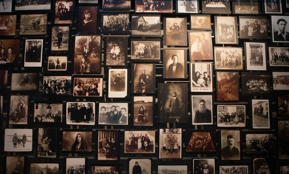 Close up of photos in the U.S. Holocaust Memorial Museum