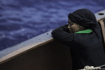 A woman weeps, minutes after being saved from the Mediterranean Sea by the Sea Watch search and rescue ship. (file)