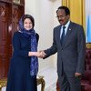 Rosemary DiCarlo, United Nations Under-Secretary-General for Political and Peacebuilding Affairs, meets with Mohamed Abdullahi Mohamed Farmaajo, the Federal President of Somalia, at Villa Somalia during her working visit to Mogadishu, Somalia, on 30 January 2019.