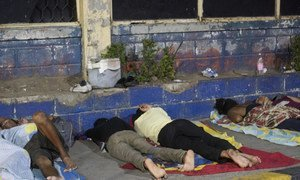 Venezuelan refugees and migrants sleep in front of the bus terminal in Maicao, Colombia. The conditions are highly insecure and have led to theft, assault and rape of the migrants.  September 2018.