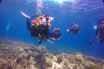 Vencedora do Jovens Campeões da Terra em edição passada Wang Miao mergulha com amigos