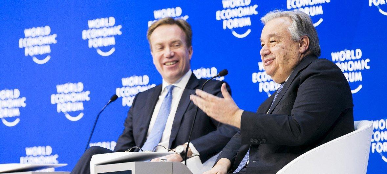 दावोस में विश्व आर्थिक मंच की सालाना बैठक में हिस्सा लेते यूएन महासचिव.