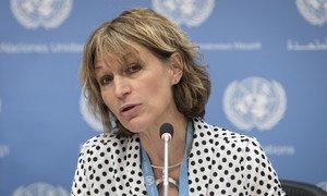 La Rapporteure spéciale sur les exécutions extra-judiciaires et sommaires, Agnès Callamard, lors d'une conférence de presse à l'ONU (archives).