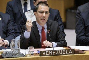 Jorge Arreaza, ministro de Asuntos Exteriores de Venezuela, habla en el Consejo de Seguridad.