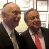 UN Secretary-General Antonio Guterres (right) with Rabbi Arthur Schneier of New York City's Park East Synagogue, where he attended United Nations International Holocaust Shabbat. 26 January 2019.