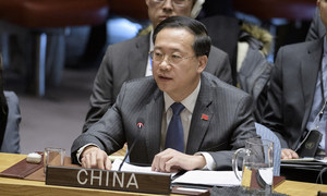中国常驻联合国代表马朝旭在安理会有关委内瑞拉的会议上发言。