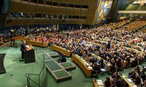 Secretary-General António Guterres addressing the annual United Nations Holocaust Remembrance Memorial Ceremony in the General Assembly Hall.