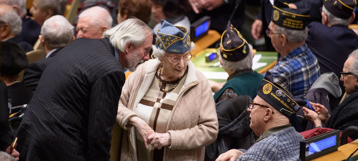 World War II Veterans and other participants attending the 2019 United Nations Holocaust Memorial Ceremony in the General Assembly Hall.