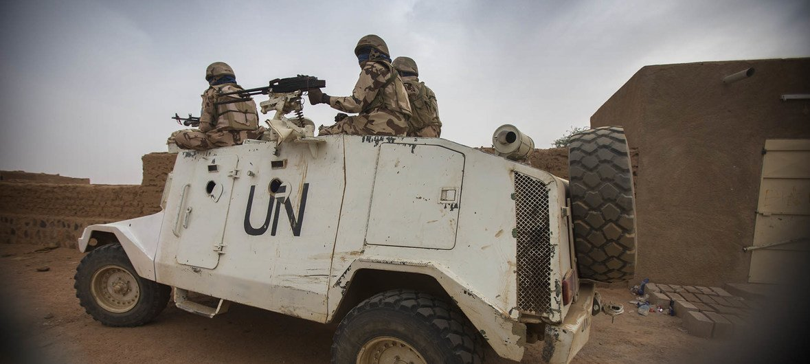 UN peacekeepers from Chad patrol the streets of Kidal in Mali, December 2016.