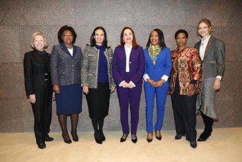 Ana Dias Lourenço (segunda da esquerda para direita) na reunião da iniciativa Líderes para a Igualdade de Gênero, lançada pela presidente da Assembleia Geral (centro).