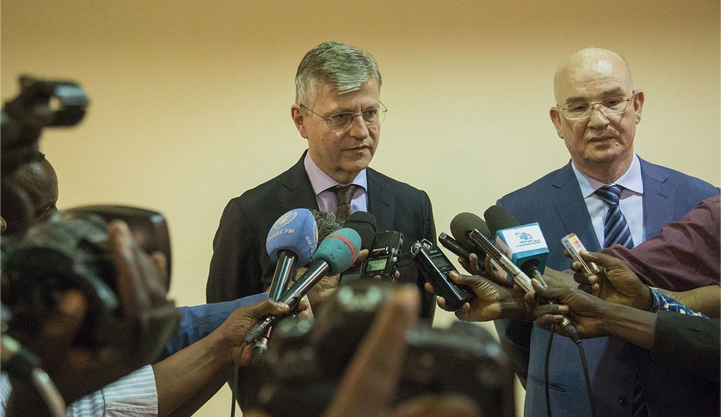 Le Chef du Département des opérations de maintien de la paix des Nations Unies, Jean-Pierre Lacroix et le Commissaire de l'Union africaine à la paix et à la sécurité, Smail Chergui, en République centrafricaine afin de relancer les efforts internationaux pour une paix durable dans le pays.