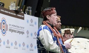 Indígenas participantes en el evento de alto nivel para el lanzamiento del Año Internacional de las Lenguas Indígenas en la Asamblea General de la ONU