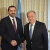 Генсек ООН Антониу Гутерриш и премьер-министр Ливана Саад Харири. Фото из архива, 4 апреля 2017 года, Брюссель.