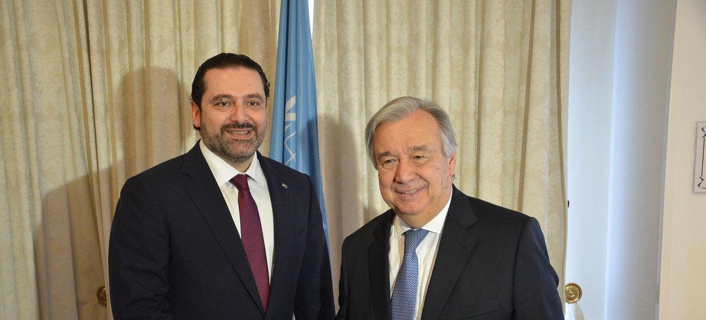 2017年4月4日,秘书长古特雷斯在布鲁塞尔会见黎巴嫩总理哈里里。